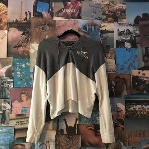 Hollister Hooded Long Sleeve Grey and White